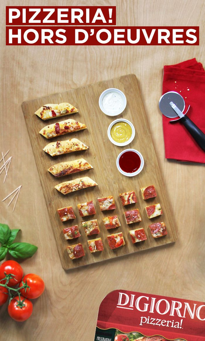 Say hello to Pizzeria! Hors D'Oeuvres. Cut up your favorite DiGiorno pizza and get ready for your guests to ask how to make this amazing appetizer.