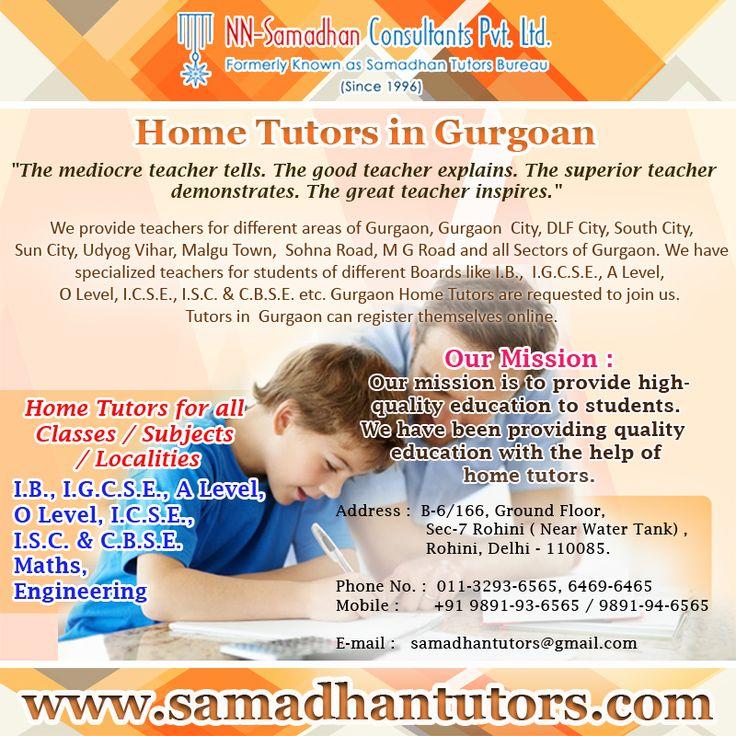 Best Home Tutors in  Gurgoan  by Samadhan Tutors