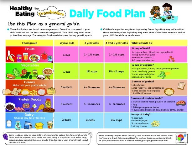 Healthy Eating For Preschoolers Quot Daily Meal Plan