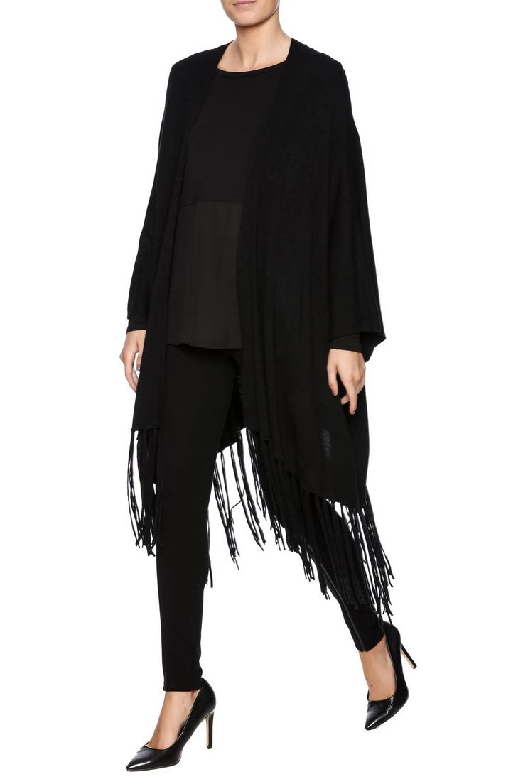 Open front oversized dolman sleeve cardigan with a fringe trim.   Fringe Trim Cardigan by WILLIAM B. Clothing - Sweaters - Cardigans California Los Angeles, California