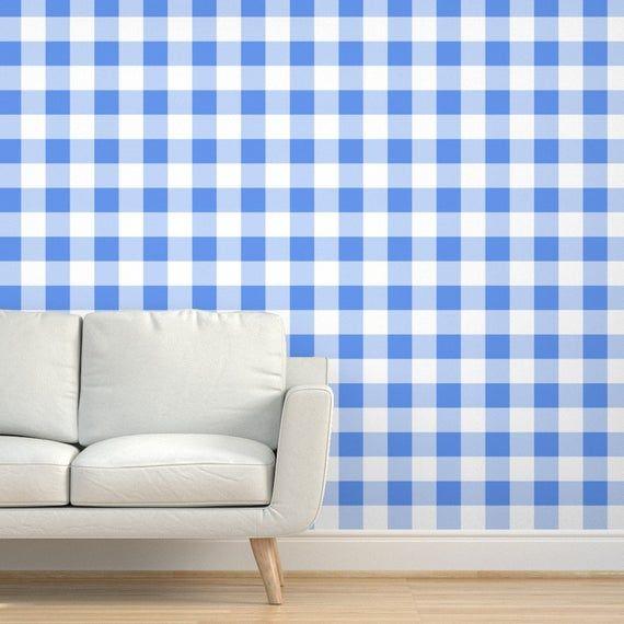 Cornflower Blue Wallpaper Three Inch Blue White By Etsy In 2021 Blue Wallpapers Inch Blue Wall Coverings