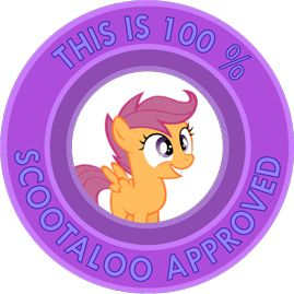 """My Little Pony Friendship is Magic """"This is 100% Scootaloo Approved"""" sticker by ~Ambris on deviantART <3 <3 #scootaloo"""