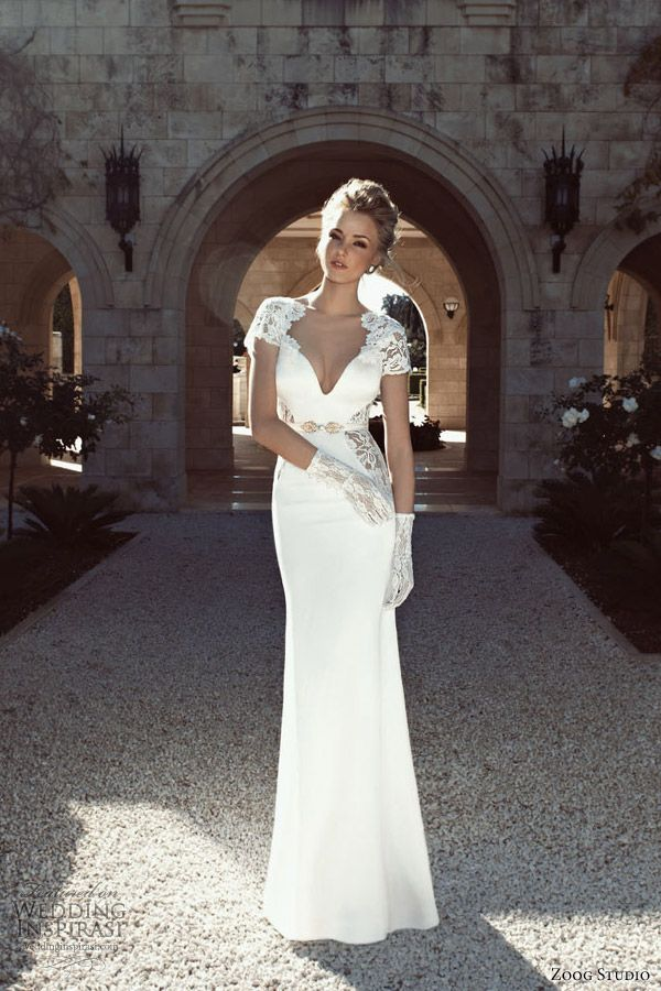 #Wedding #Dress #WeddingDress - Slim Fitted White Wedding Dress With Lace Cutout and Shoulder Lace Detail ...better for a bridal shower or bridesmaids