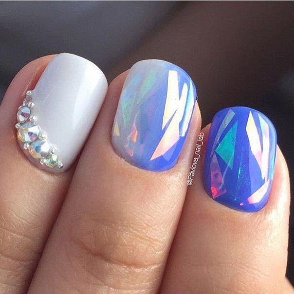 Маникюр | Ногти azul blanco cristal roto ombre