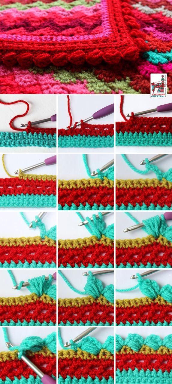 Free Crochet Edging tutorial: BOBBLE border. By Handwerkjuffie