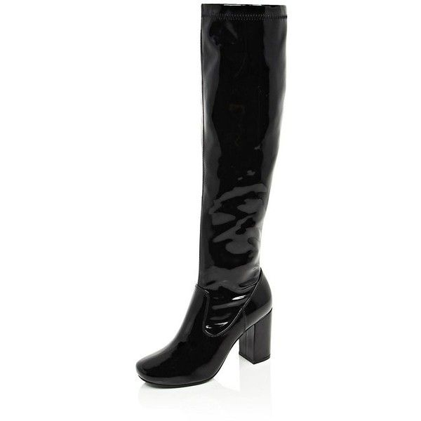 River Island Black patent knee high heeled boots (740 MXN) ❤ liked on Polyvore featuring shoes, boots, black stretch knee high boots, block heel knee high boots, black knee high boots, block heel boots and patent leather knee-high boots