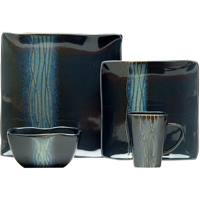 Serve meals in style on this pretty 16-piece dinnerware set done in a striking  sc 1 st  Pinterest : square plate sets - pezcame.com