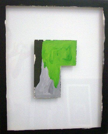 Sean Bailey, Channel, 2012, synthetic polymer paint and collage on glass, 68 x 55 cm