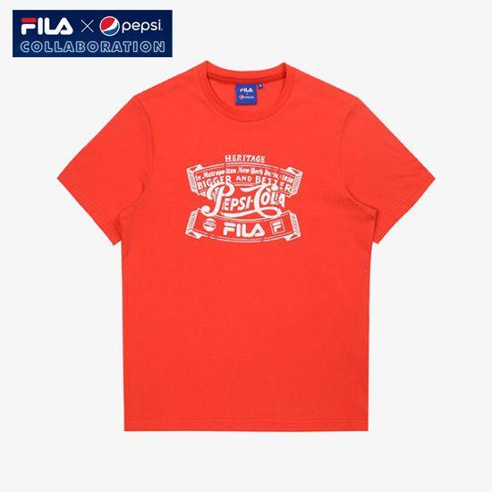 [Fila X Pepsi Cola] Limited Collaboration Logo T-shirt Unisex Adult Red #FILA #Tshirt