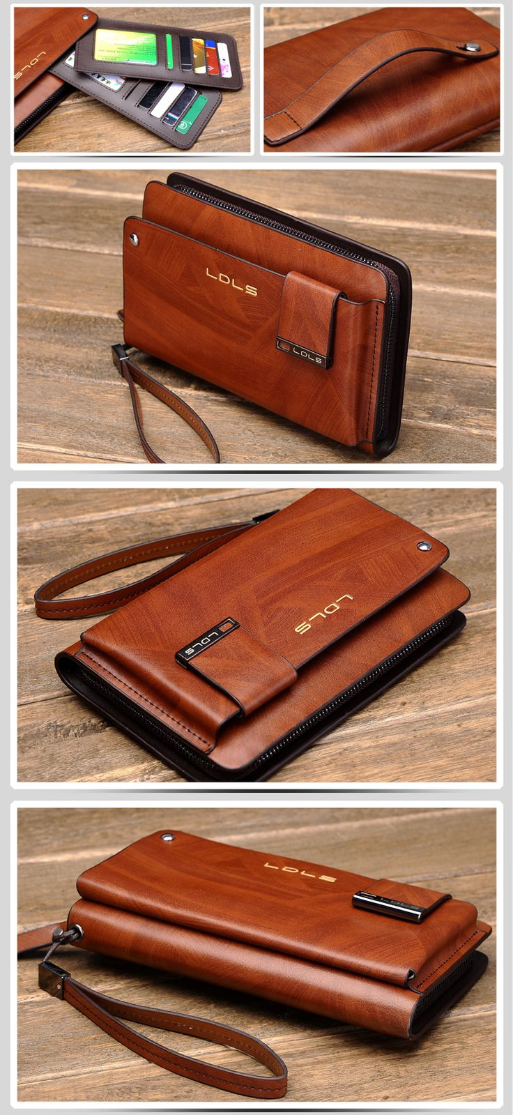 Male clutch genuine leather day clutch commercial clutch bag cowhide wallets multi card holder hand envelope cowhide man bag-inClutches from...