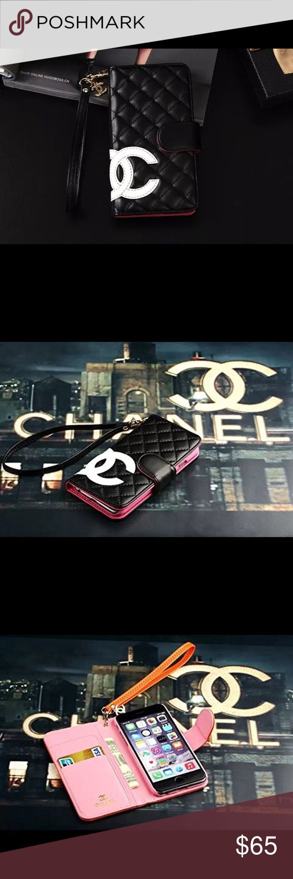"""🆕Apple's FASHION FUN Lux Line/iPhone Cases 🆕 From Apple Style Line,iPhone 6 Plus/6s/6s+ Wallet/iPhone Wrislets/Double C design Wallet w Wrislet PLUS cellphone case/Not Chanel! This is a Fashion Fun Only! Blk&Wht Case/Fits iPhones 6+/6s/& 6s+/5.5"""" w measuremnt) US Distributor/Ship w manufacturer's retail package)PLS NOTE:*THESE R FASHION FUN iPhone Accessories! Nice QUALITY/LUV MINE/RECEIVED HIGH marks w customer satisfaction! FASHION FUN Design,NIB/REAL LEATHER/w…"""