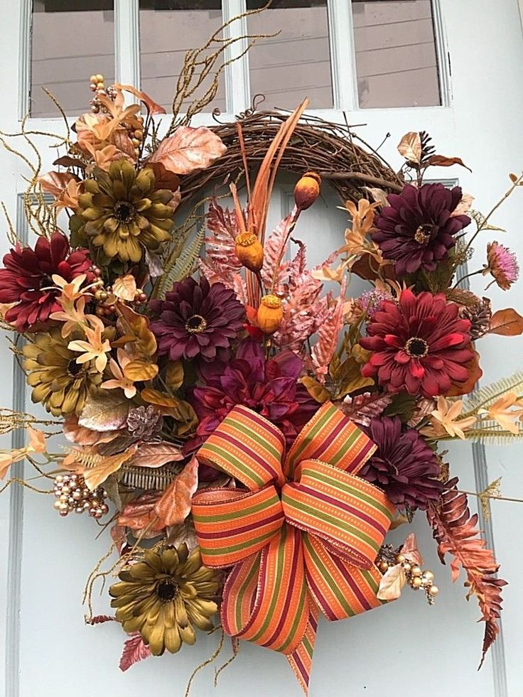 Beautiful Farmhouse Autumn Olive, Burgundy Red Floral