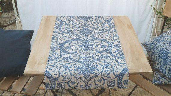 Corridore blu beige blu marino shabby chic di BiancospinoPillowsCo