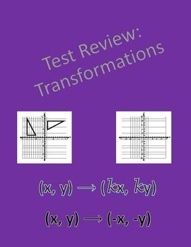 Geometry test review over transformations covering translations, reflections, rotations, Dilations, scale factor, composition of transformations.