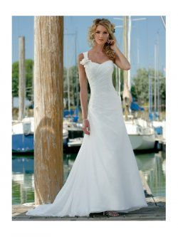 Un hombro tren vestidos de gasa de novia para playa