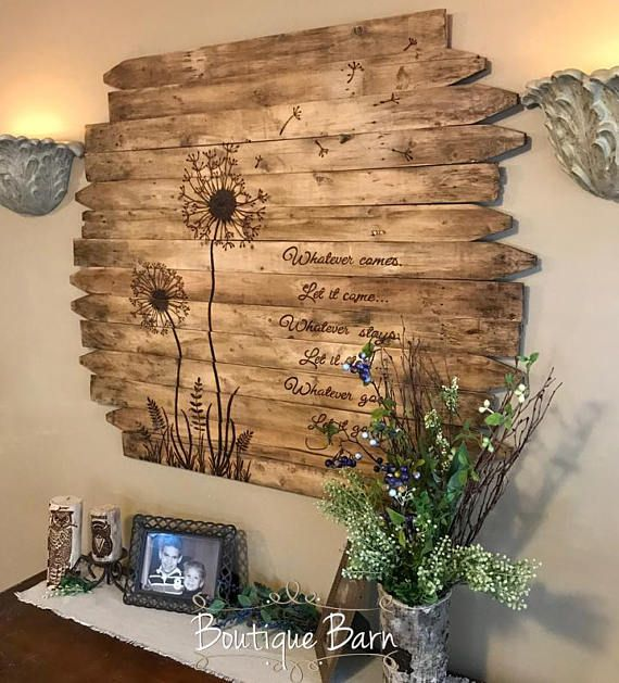 Dandelion Wall Art Large Square Flower Wood Picture Rustic Etsy Rustic Wood Wall Art Dandelion Wall Art Rustic Wood Wall Decor