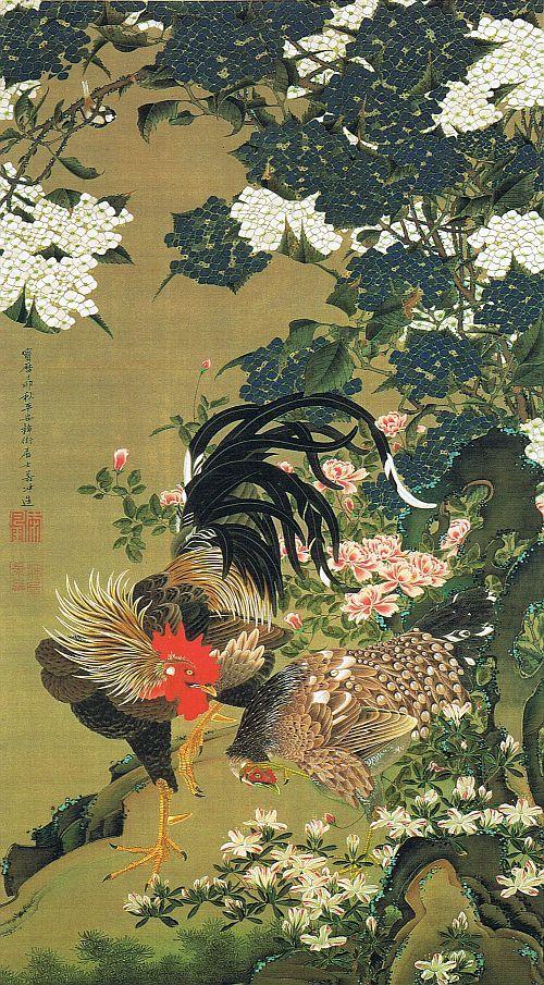 """動植綵絵 第一期(1757-1760), 06. 紫陽花双鶏図[あじさい そうけい ず] , """"Pictures of the Colorful Realm of Living Beings"""", 1759 , Jakuchu Ito"""