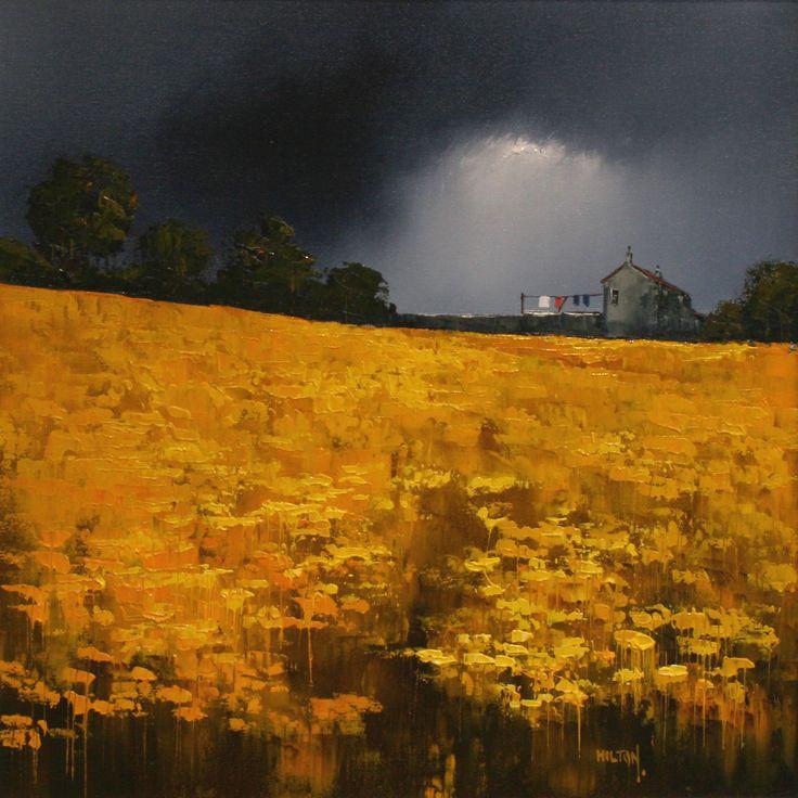 Barry Hilton ~ http://www.originalpaintings.com/barry_hilton.htm ~ Dramatic Skies over Yellow Fields
