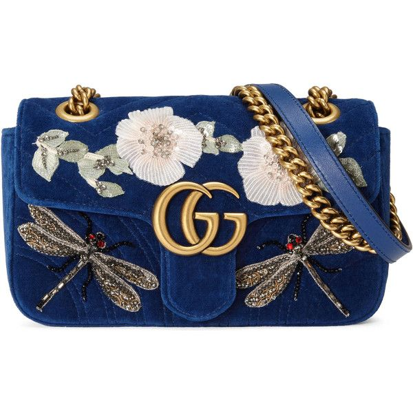 Gucci Gg Marmont Embroidered Velvet Mini Bag (30965 MAD) ❤ liked on Polyvore featuring bags, handbags, shoulder bags, gucci, cobalt blue, women, gucci handbags, gucci shoulder bag, flower purse and man bag