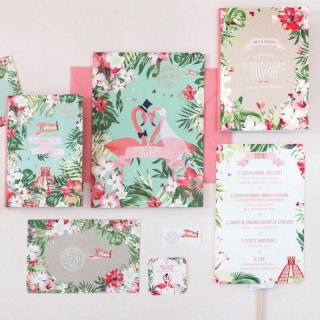 faire part tropical Rouge Pompon / wedding invitation