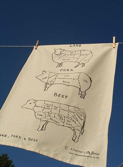 Meat cuts tea towel