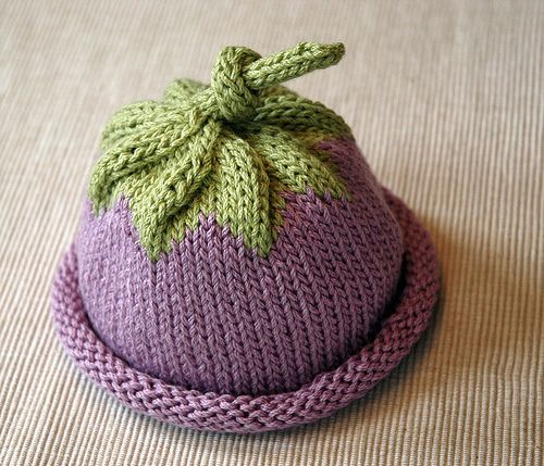 Berry Baby Hat by Michele Sabatier  You see what I mean about babies having different fashion rules than us? FREE baby hat pattern for a berry hat. Change the colors, and you have a whole new fruit. Or vegetable.