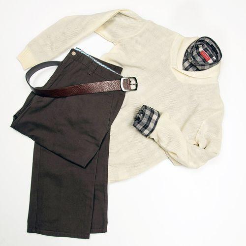 Pantalón casual Gino Gabuchi, camisa Business Casual, suéter Emporium, cincho casual Emporium.