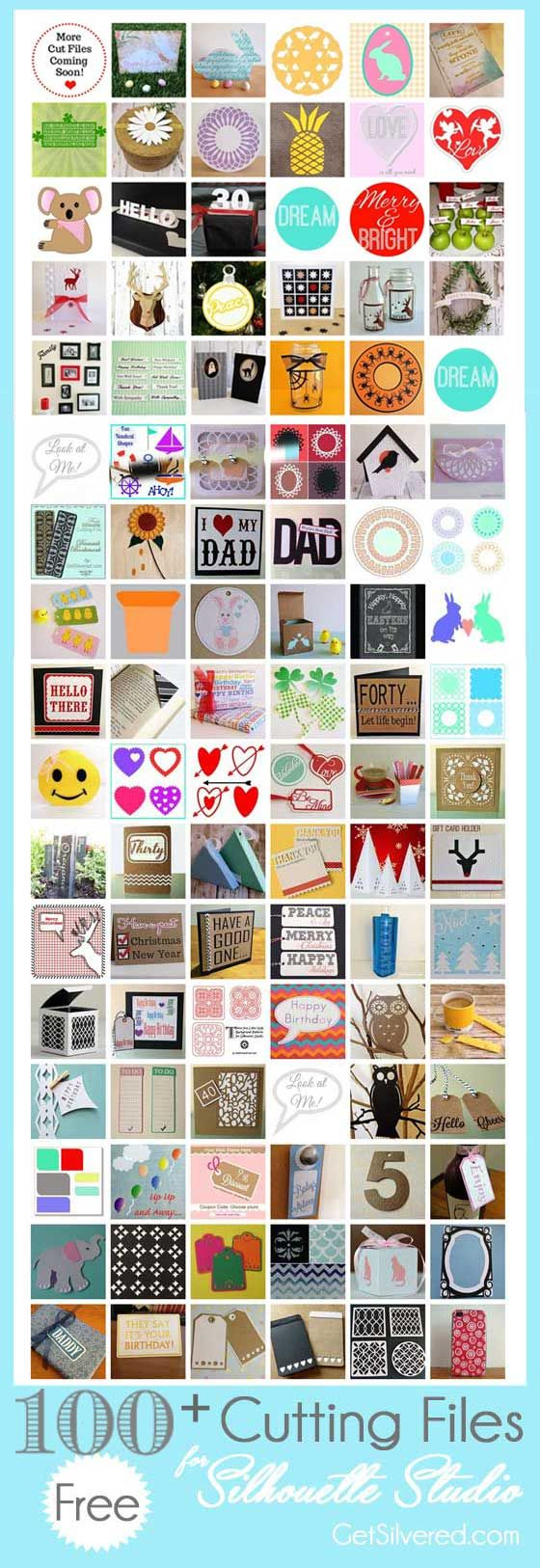 Celebrating 100 Free Silhouette Cutting Files from Get Silvered #SilhouetteCameo #freecutfiles #SilhouetteRocks