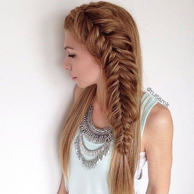 For a more casual spin on the Fishtail braid, just try parting your hair to the side and braiding a small section.  Leave the rest of your hair down and you've instantly upgraded your look!