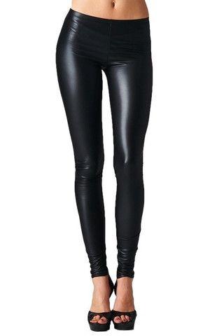 Zoe Leather Look Leggings - Black