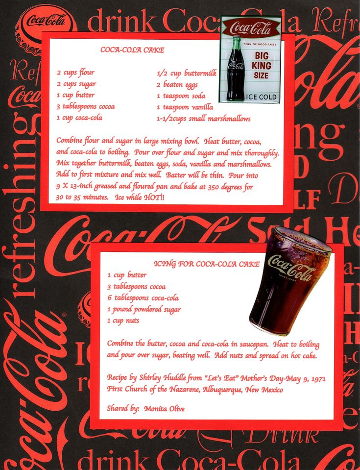 Coca-Cola Cake Recipe Page - Best chocolate cake ever!!!  Have to put pecans in the frosting...frosting is like eating fudge!