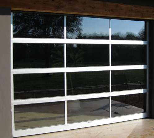 Contemporary Full View Glass Garage Doors :: Full View Aluminum & Clear Glass Garage Door - Main Garage Doors Inc. Your Main Source for All Overhead Sectional Residential or Commercial Garage Doors Strong & Beautiful Designs in Solid Wood, Steel, Insulated, Fiberglass, Contemporary or Custom Design