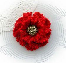 CROCHET BROOCH APPLIQUE RUCHE PETAL RED GOLD GLITTER LUREX FLOWER CHRISTMAS
