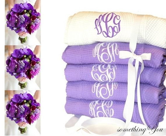 Set of 5 Monogrammed Robes Orchid Bright by SomethingYouGifts, $209.70