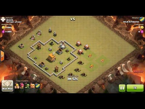Clash of Clans TH4 vs TH5 Giant, Archer, Barbarian & Balloon Clan War 3 Star Attack ⋆ Clash of Clans 3 Stars Clan Wars