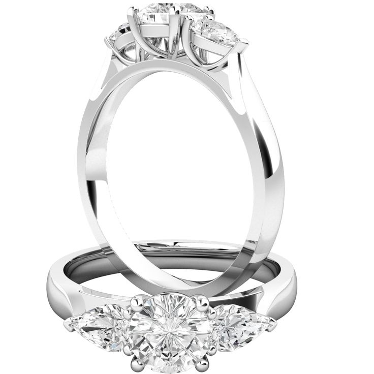 Round cut diamond ring with pear shoulder stones in 18ct white gold - PD528W | Purely Diamonds