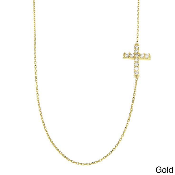 Eternally Haute Sterling Silver Cubic Zirconia Side Cross Necklace