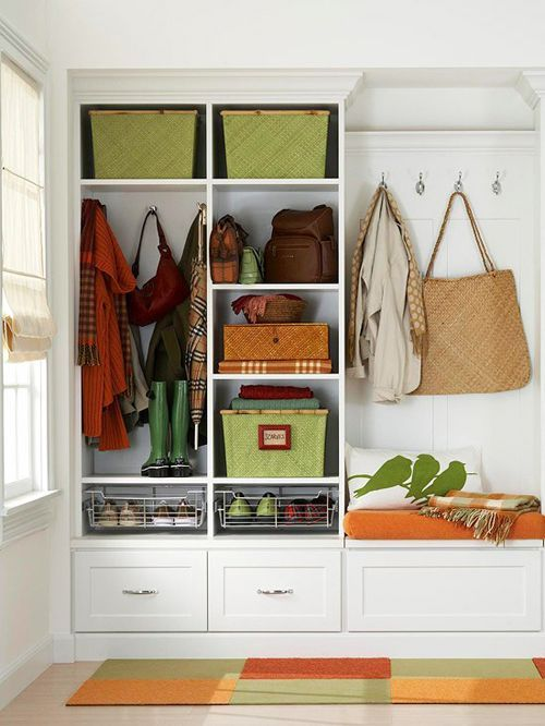 Wonderful 63 Clever Hallway Storage Ideas : 63 Clever Hallway Storage Ideas With White Wall Window Curtain Basket Wooden Storage Carpet Hardwood Floor