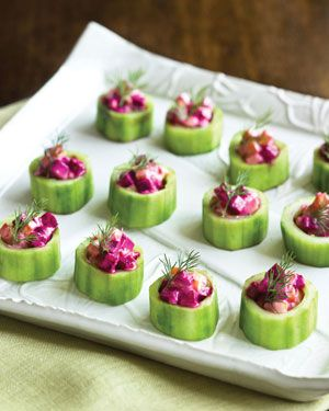 Cucumber Cups with Roasted Beets and Yogurt Dressing    roasted beats sound gross! but you can use the greek yogurt with any other veggy to stuff them! =)