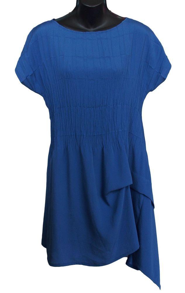 Babette Sf Pleated Tunic Top Asymmetrical Blue Size S Babettesf