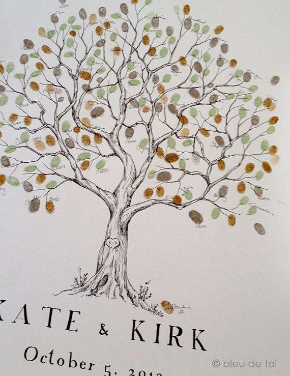 Wedding Guest Book alternativa, impronte digitali albero, grande ulivo, albero genealogico di famiglia Reunion, vigneto albero, matrimonio rustico, identificazione personale di bleudetoi