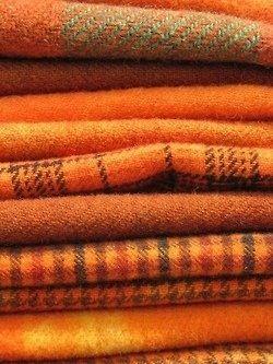 Orange and plaid blankets
