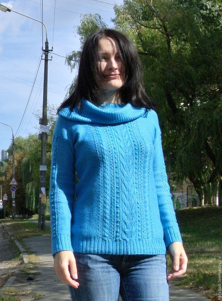 """Купить Джемпер """"Лили"""" - бирюзовый, пуловер, женский, вязание спицами, весенний, легкий, полушерсть, женственный"""