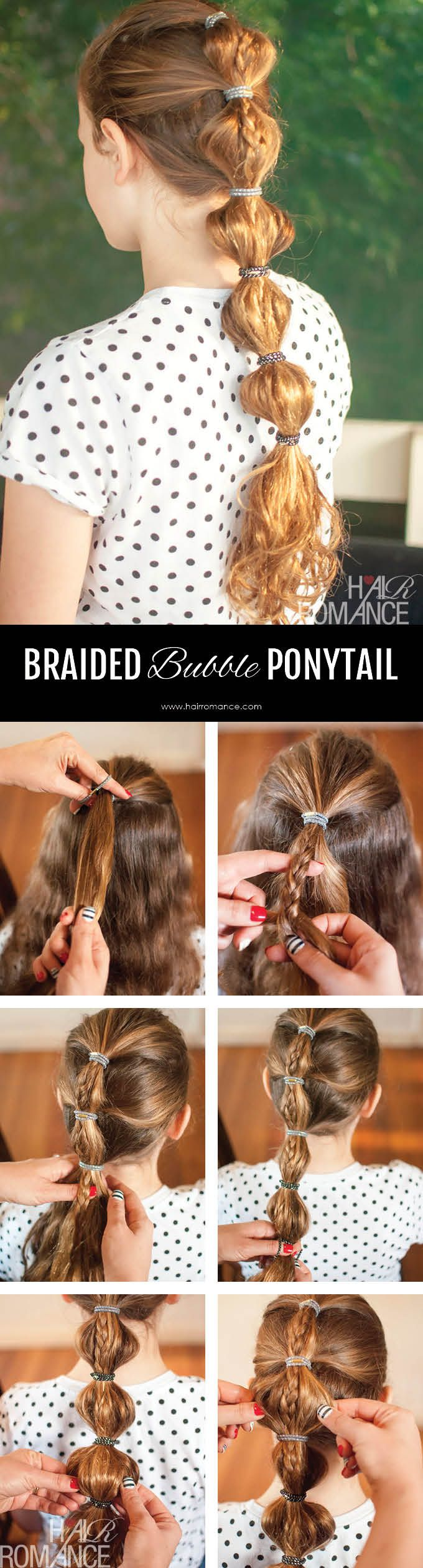 Hair Romance - easy school hair - braided bubble ponytail tutorial