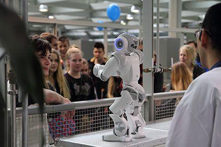 "The new ""pet"" of the degree programme of Information Technology: NAO humanoid robot. Photographer: Markku Kuusinen"