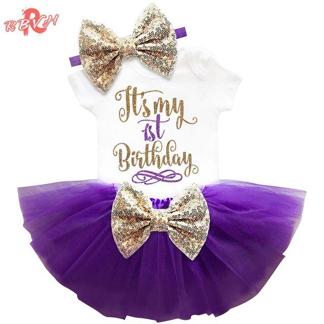 Yenidoğan Bebek Kız Giyim Setleri Benim Küçük Kız 1st Doğum Günü Kıyafetler Bebek Romper + Etek + Kafa Bebek Parti Kostüm çocuklar Giysileri