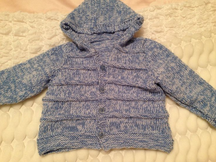 Hand knitted baby hoody for a gorgeous wee boy