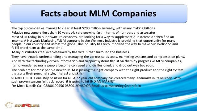 Facts about mlm companies by STARLIFE FOOD SUPPLEMENTS PVT. LTD. via slideshare