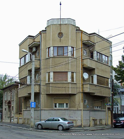 Art deco modernist street corner house bucharest