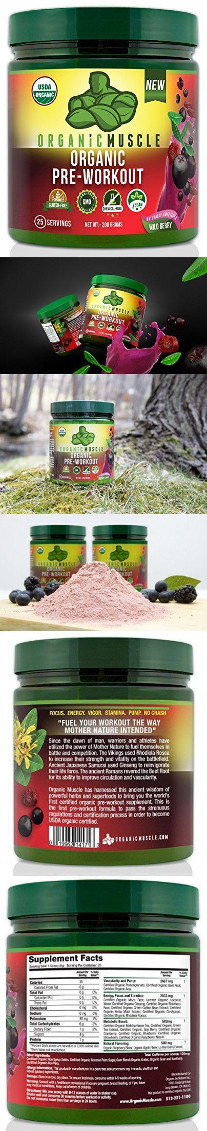 USDA Certified Organic Pre-Workout Supplement - Natural Pre Workout & Organic Energy Drink- Vegan, Paleo, Gluten Free, Non-GMO -- Wild Berry Flavor, 20 serv.